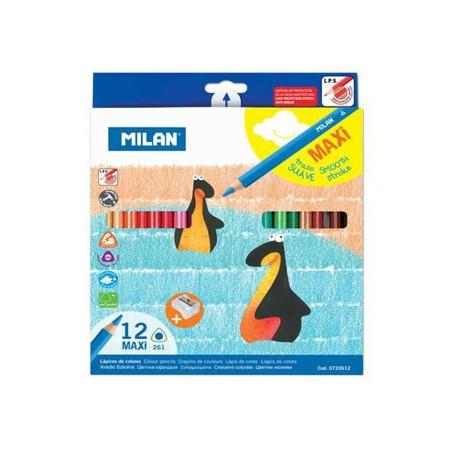 Kredki ołówkowe trójkątne jumbo 12 kolorów Milan + temperówka